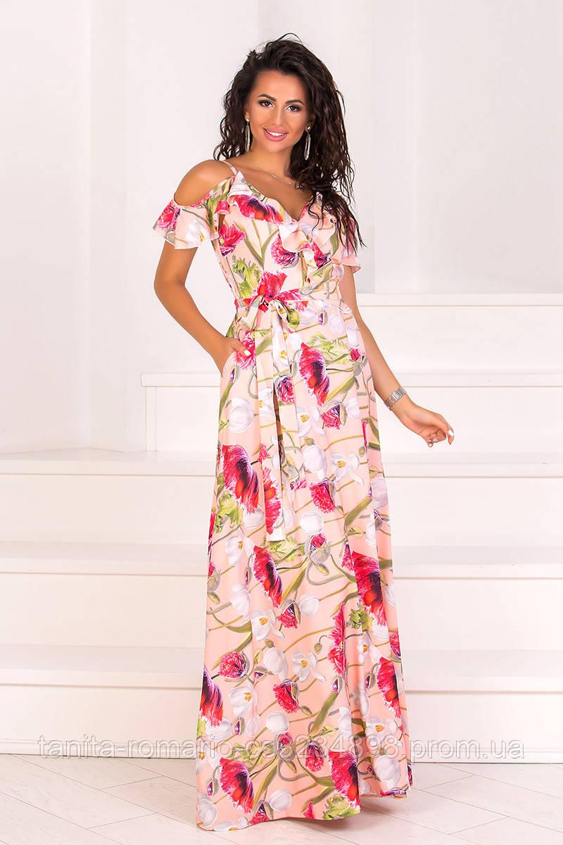 Повседневное платье 8086e Персиковый L(р)