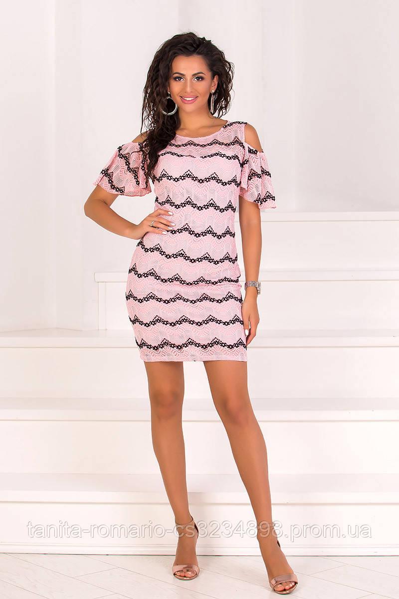 Коктейльное платье 8102e Розовый L(р)