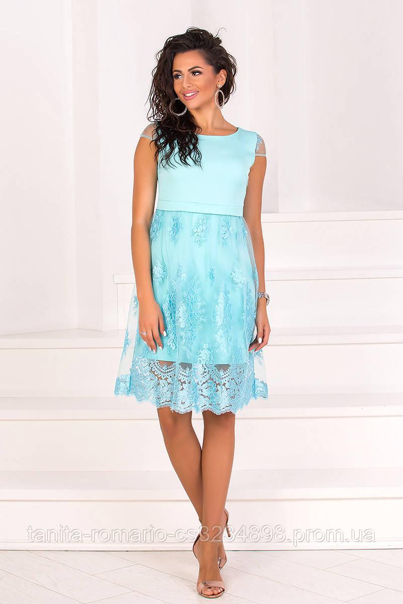 Коктейльное платье 8076e Голубой L(р)
