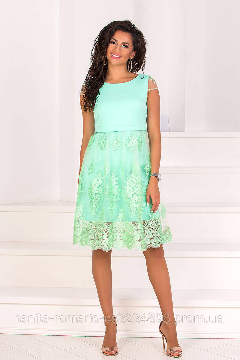 Коктейльное платье 8076e Мятный L(р)