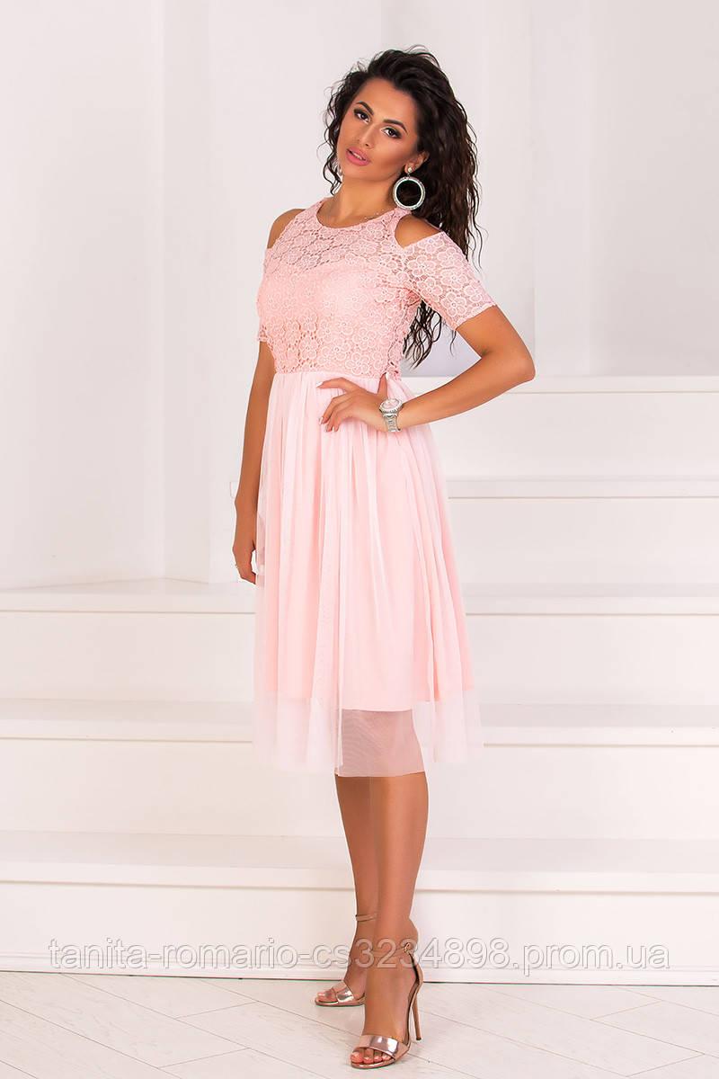 Коктейльное платье 8064e Розовый  S M L
