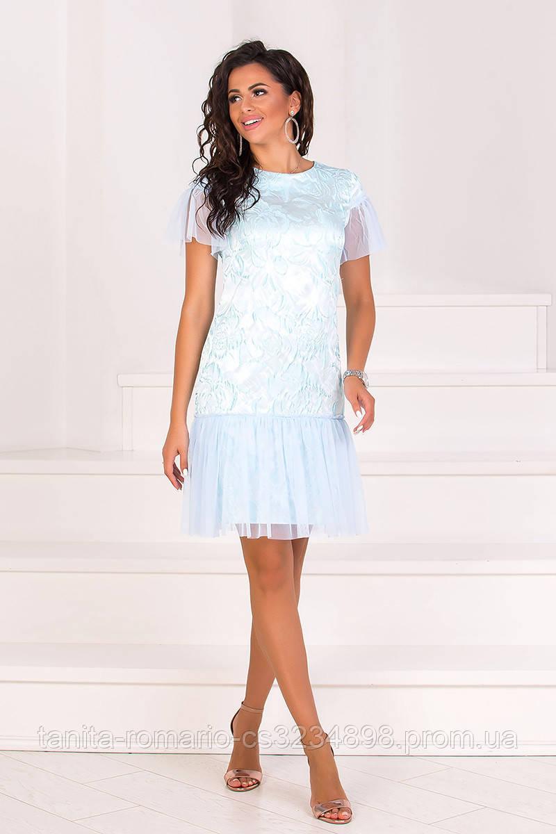 Коктейльное платье 8074e Голубой L(р)