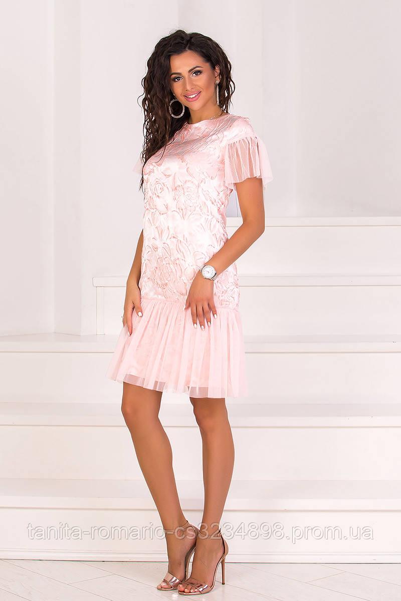 Коктейльное платье 8074e Розовый M(р)