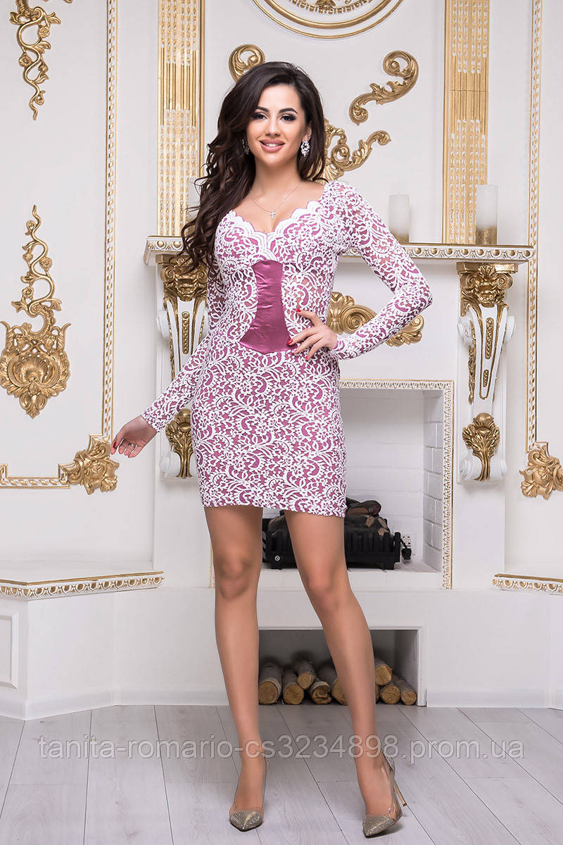 Коктейльное платье 3300e Белый/розовый L(р)