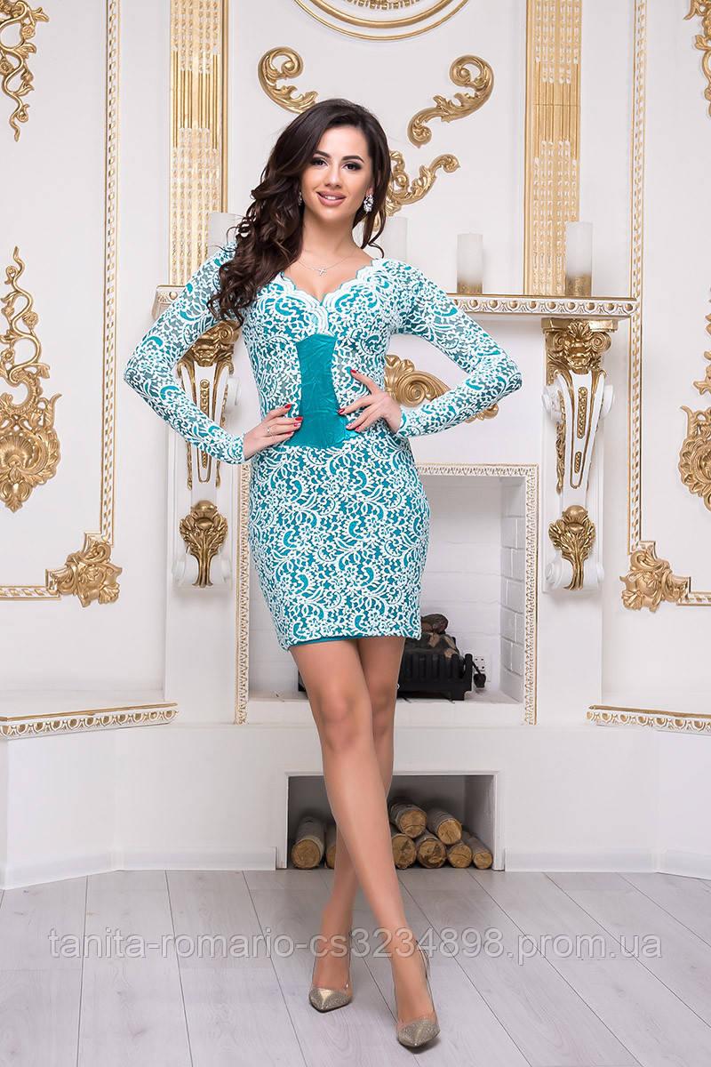 Коктейльное платье 3300e Белый/бирюза M(р)