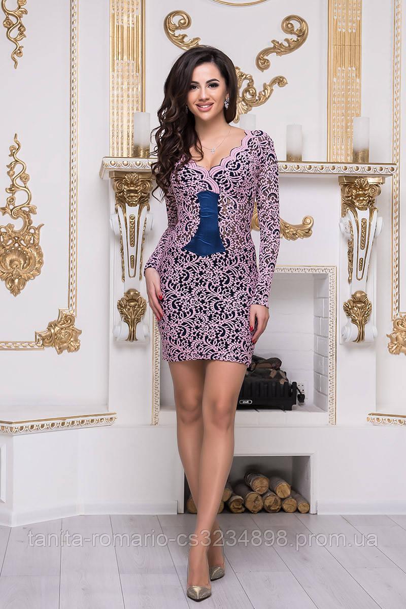 Коктейльное платье 3300e Синий/розовый M(р)