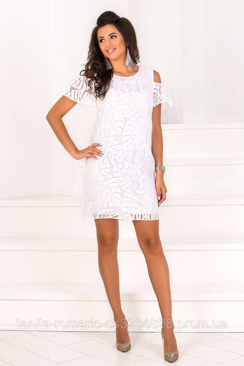 Повседневное платье 8103e Молочный S(р)