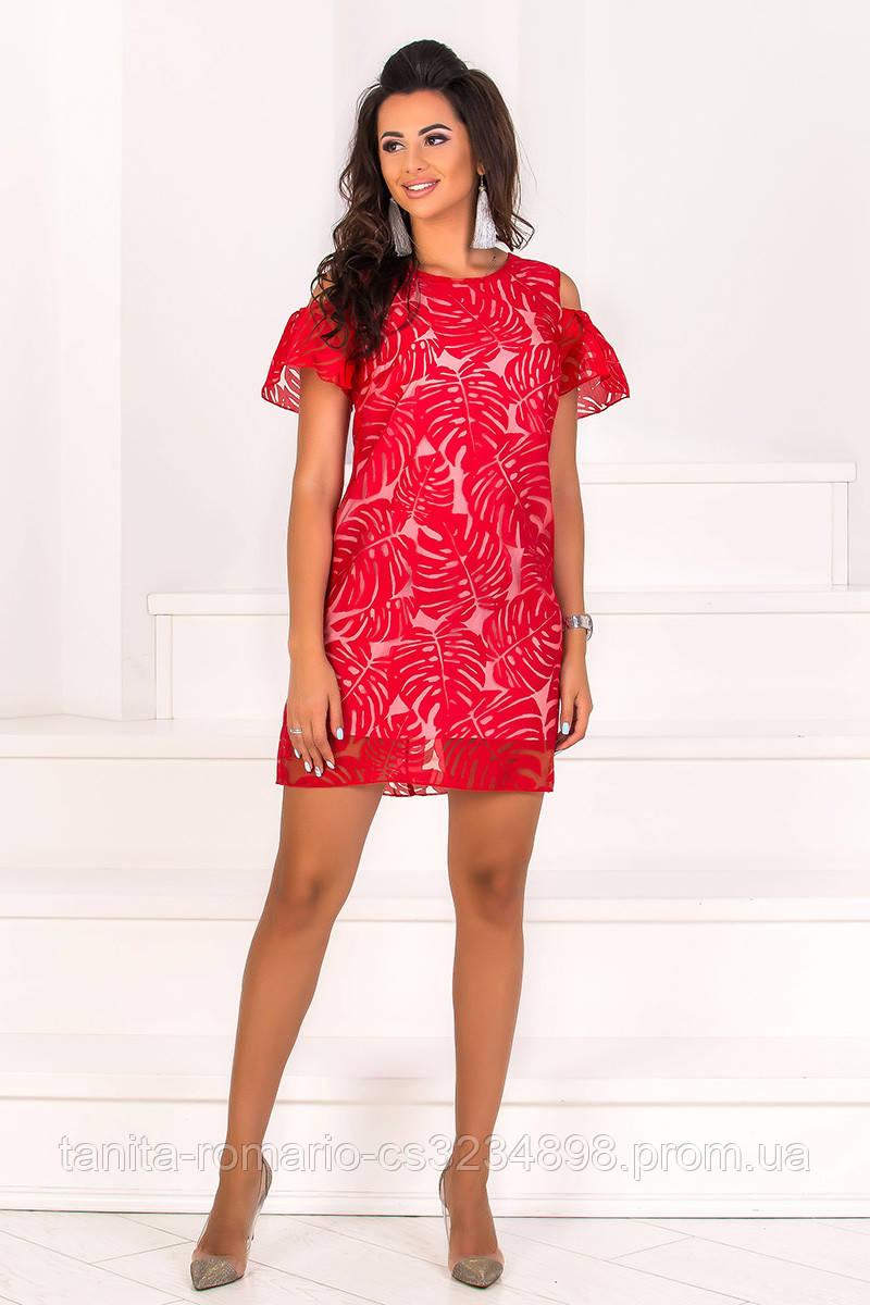 Повседневное платье 8103e Красный L(р)
