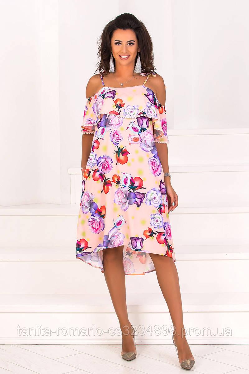 Повседневное платье 8112e Коралловый S(р)