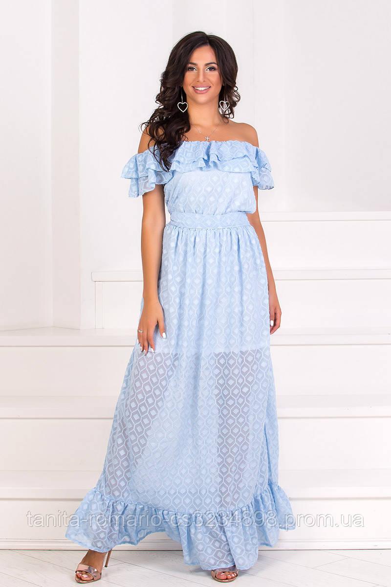 Повседневное платье 7117e Голубой L(р)