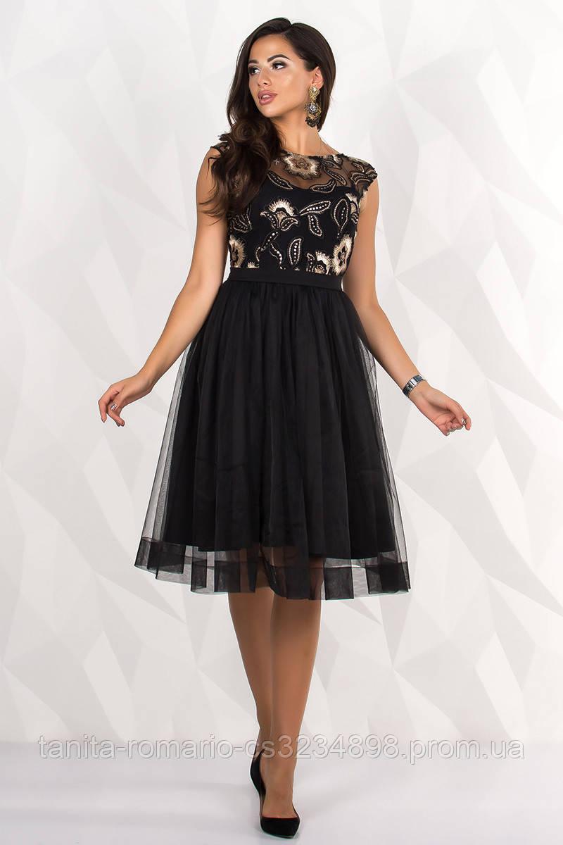Коктейльное платье 8068e Чёрный  S M L