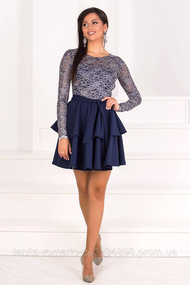 Коктейльное платье 7318e Синий  S M L
