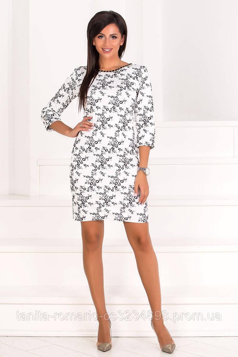 Повседневное платье 7233e Молочный L(р)