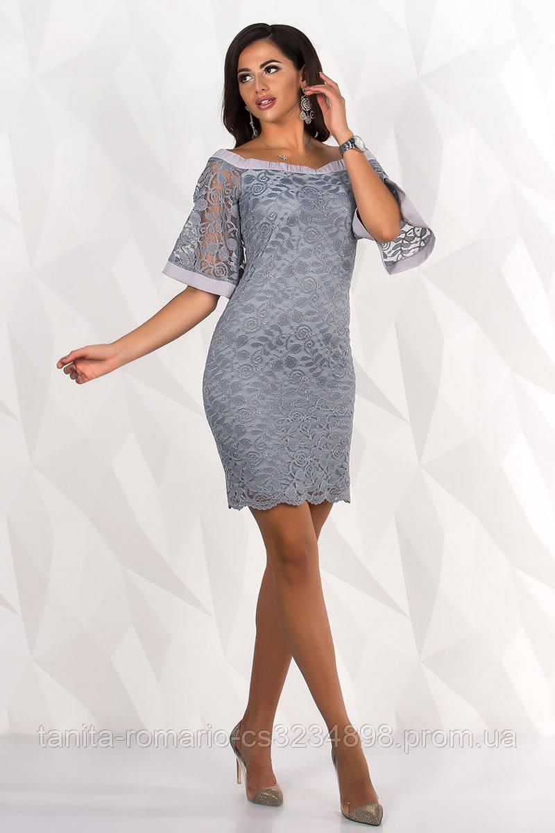 Коктейльное платье 8114e Серый L(р)