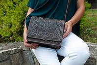 Кожаная женская сумка, темно-коричневая сумка ручной работы, сумка через плечо, фото 1