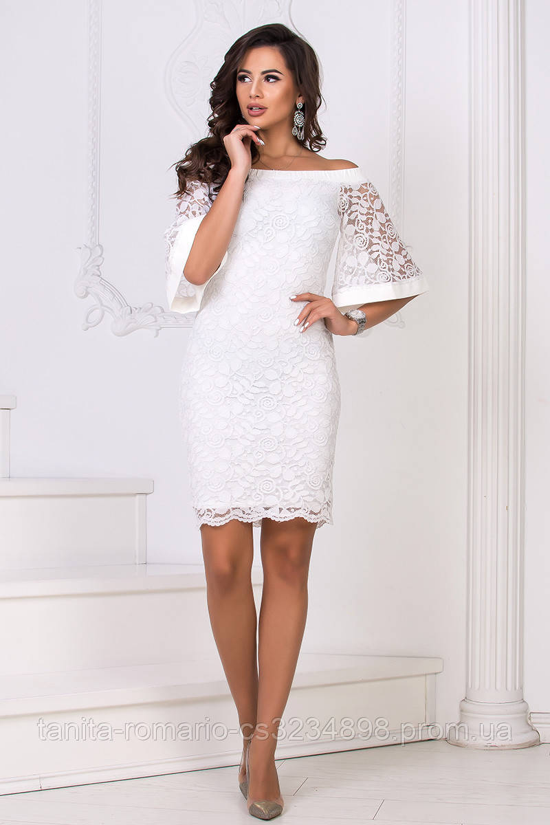Коктейльное платье 8114e Молочный L(р)