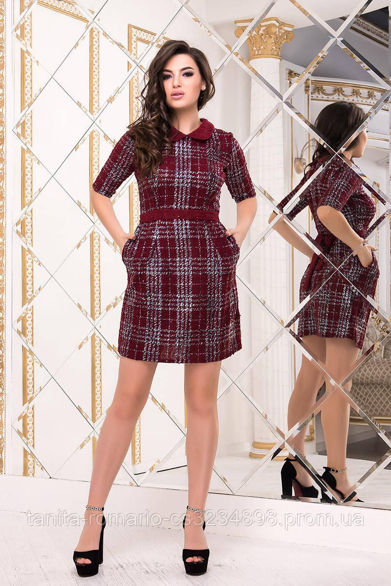 Повседневное платье 8152e Бордо L(р)