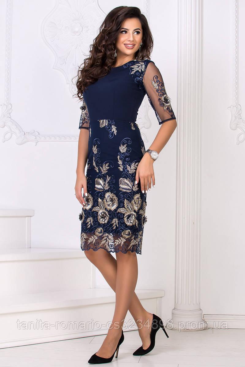 Коктейльное платье 8154e Синий S(р)
