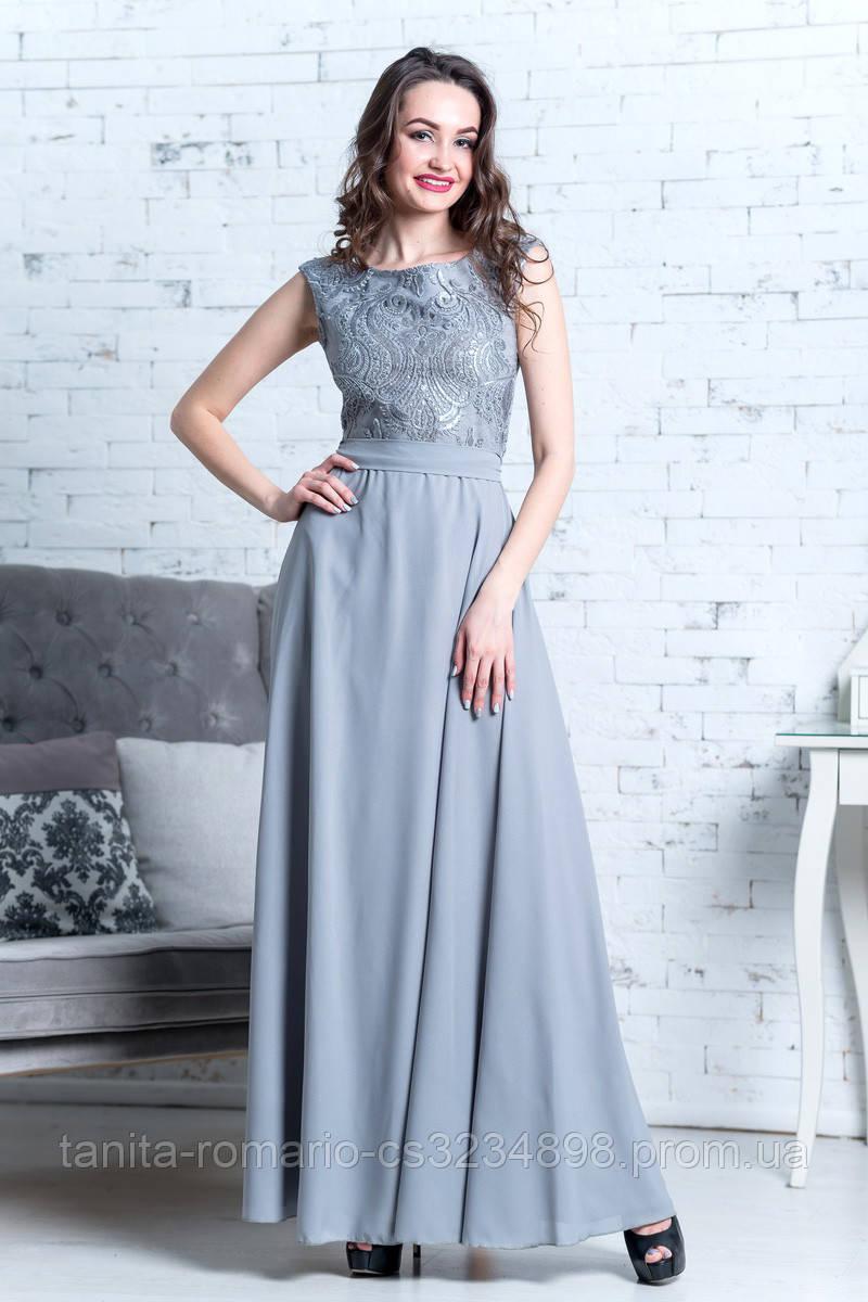 Вечернее платье 7071e Серый XS(р)