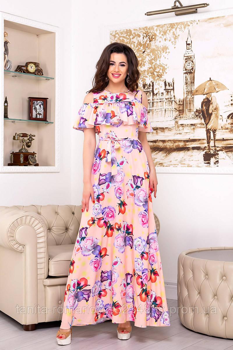 Повседневное платье 7101e Коралловый S(р)