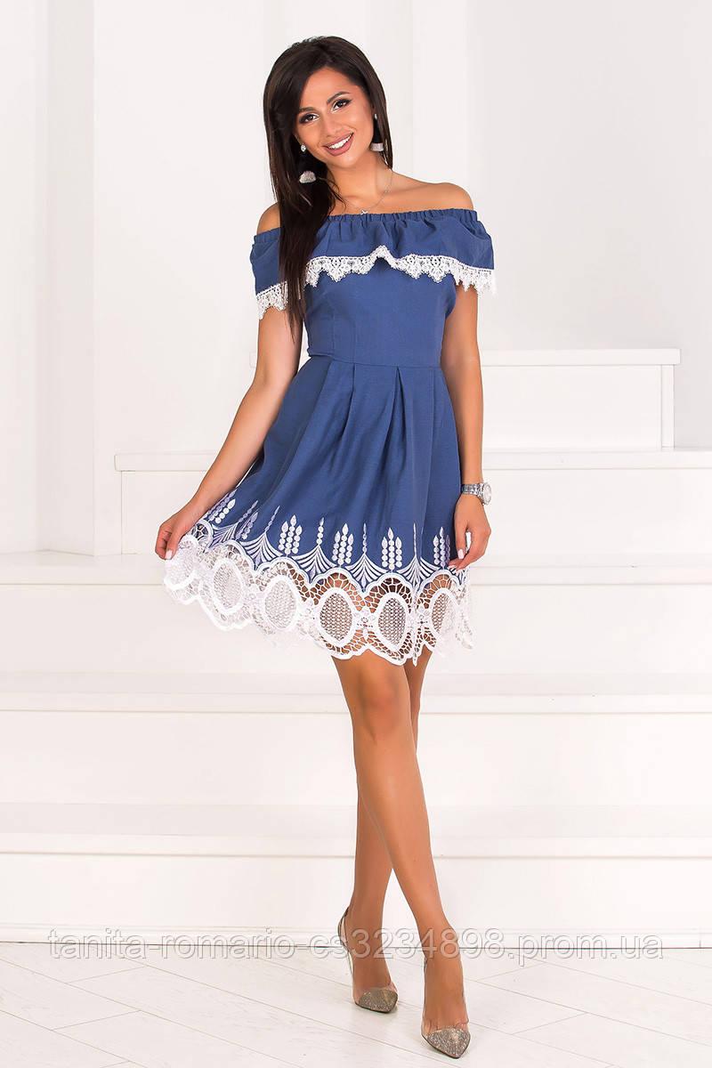 Повседневное платье 7105e Джинсовый L(р)