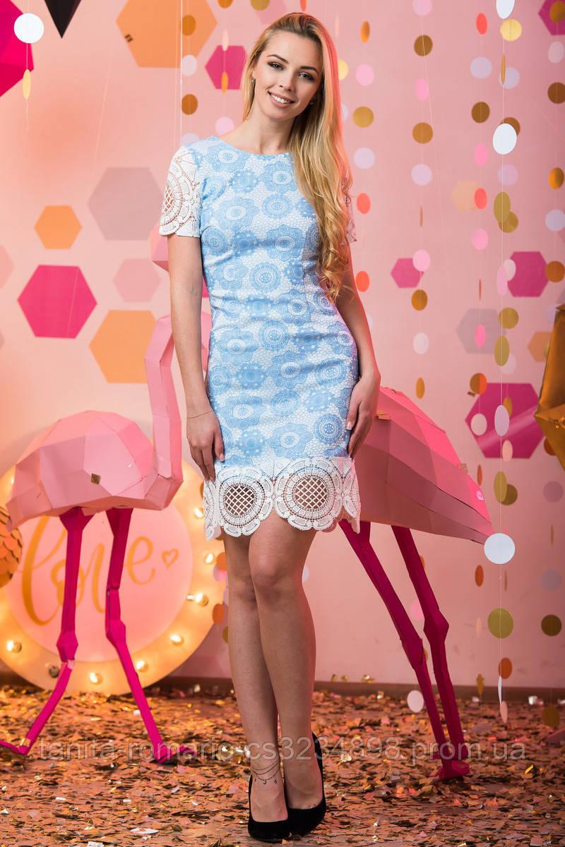 Коктейльное платье 7051e Голубой S(р)