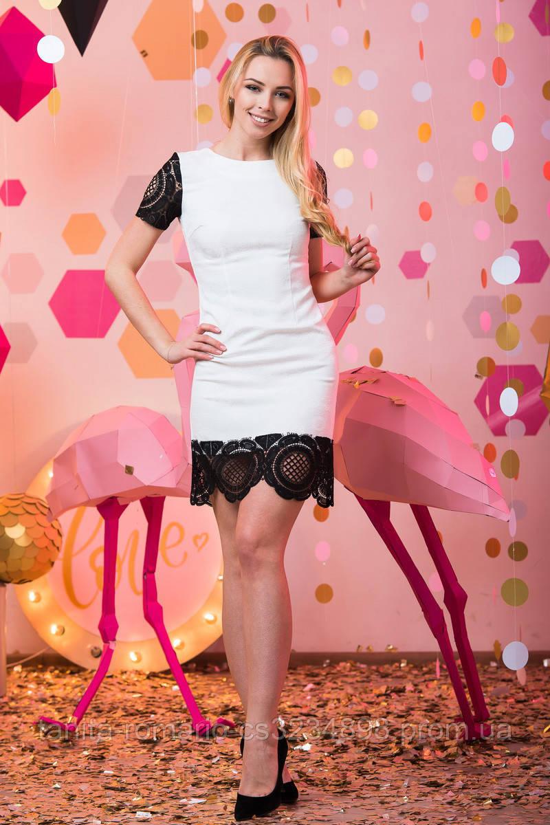 Коктейльное платье 7051e Чёрный/белый L(р)