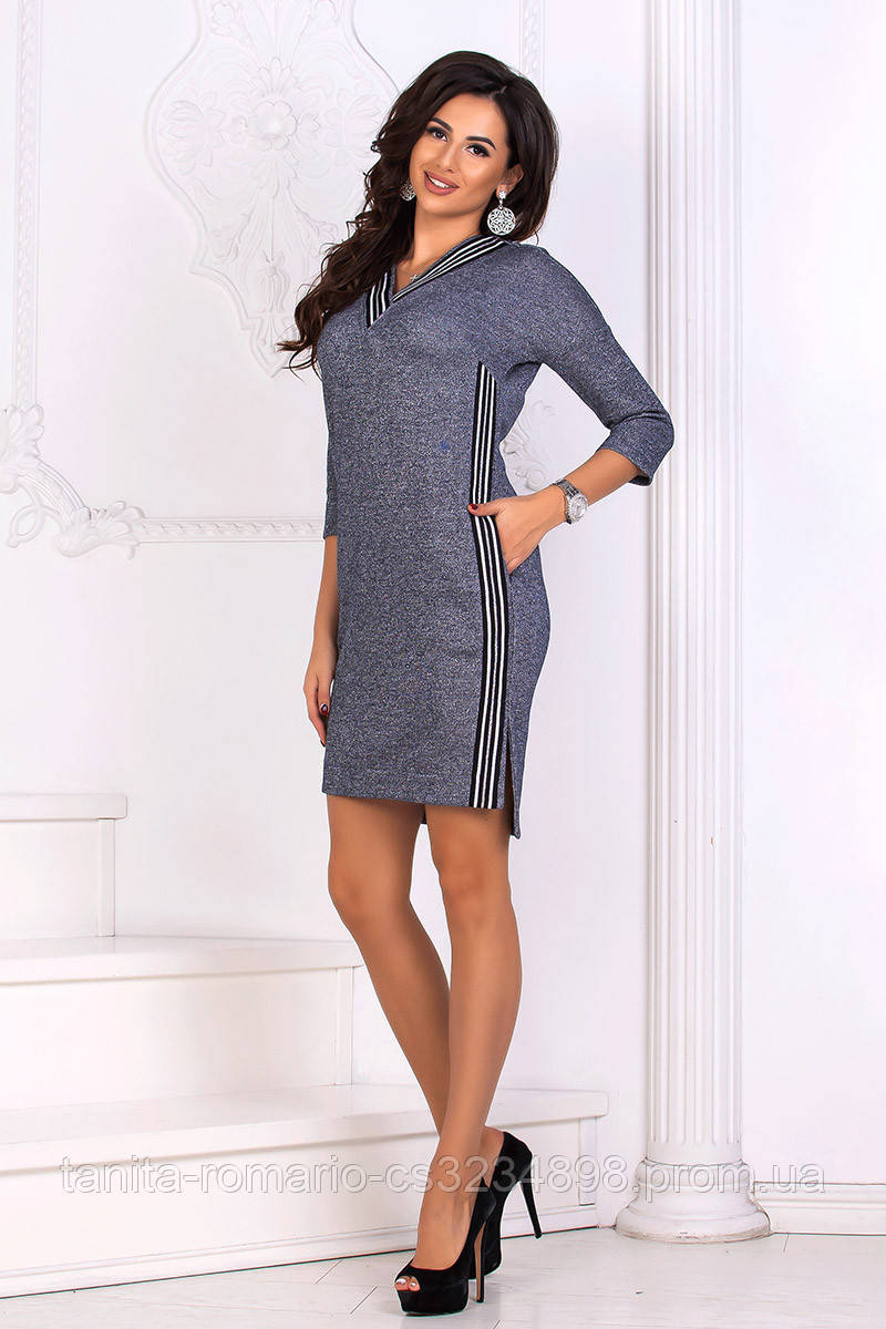 Повседневное платье 8161e Синий S(р)
