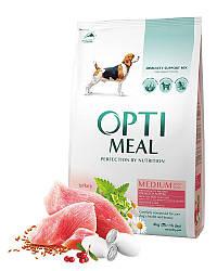 Сухой корм Opti Meal для взрослых собак средних пород (от 10 до 25 кг) с индейкой, 12 кг