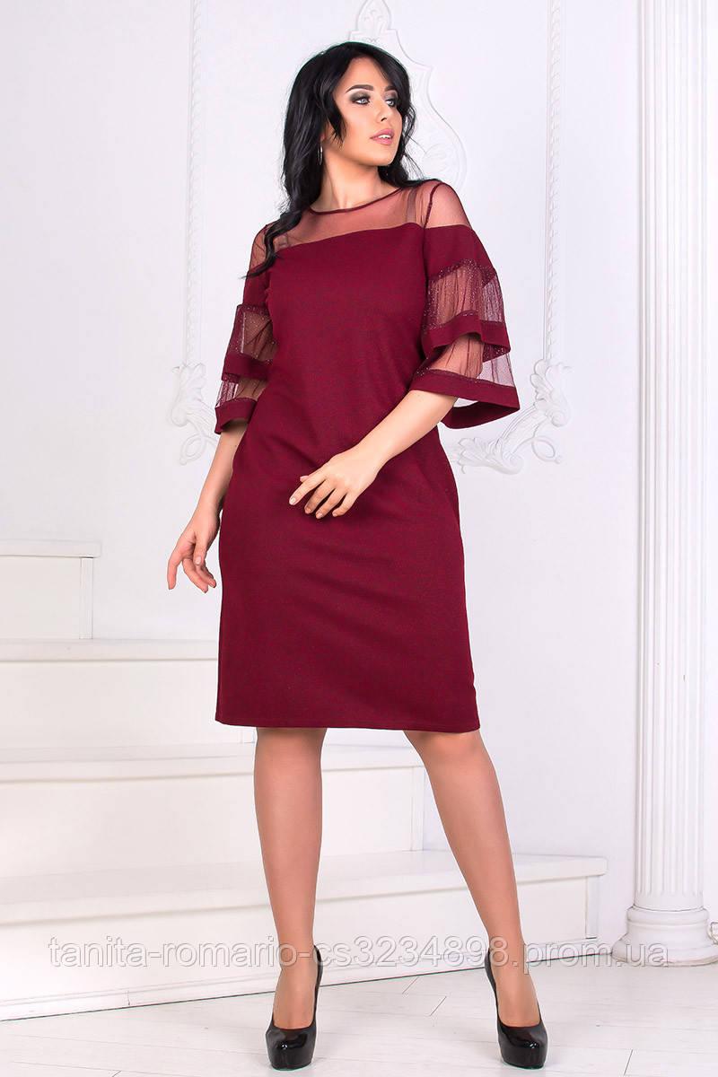 Коктейльное платье 8168e batal Бордо 2XL(р)