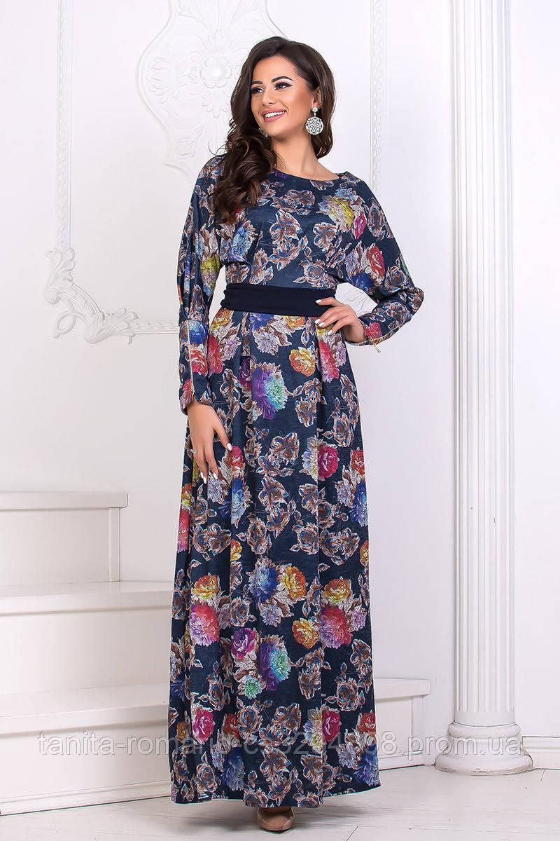 Повседневное платье 6252e Синий/цветочный L(р)