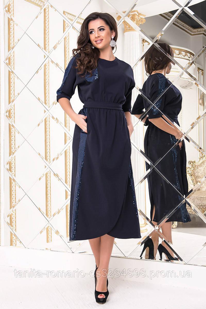 Коктейльное платье 8177e Синий S(р)