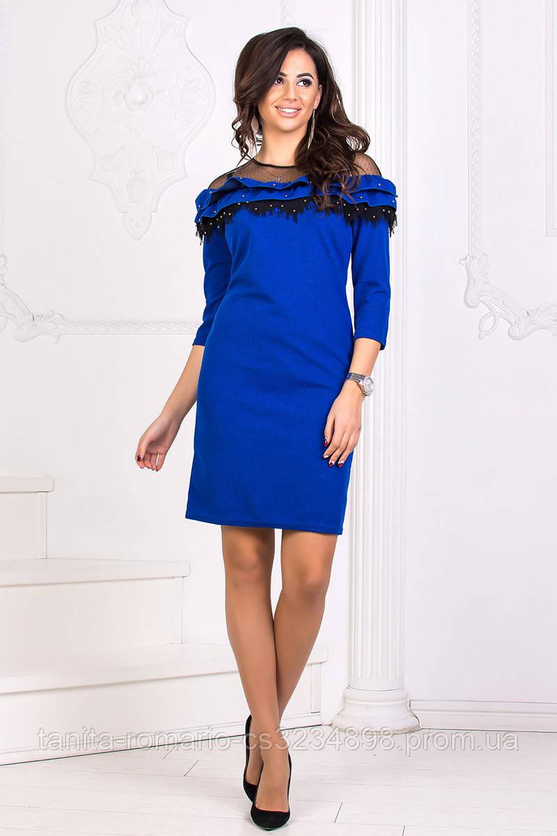 Коктейльное платье 8183e Электрик S M L