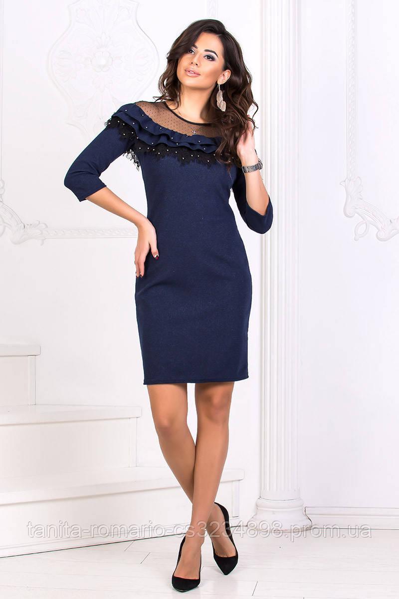 Коктейльное платье 8183e Синий S M L