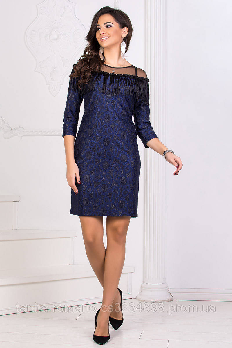 Коктейльное платье 8185e Синий L(р)