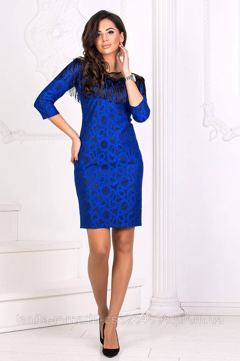 Коктейльное платье 8185e Электрик S M L