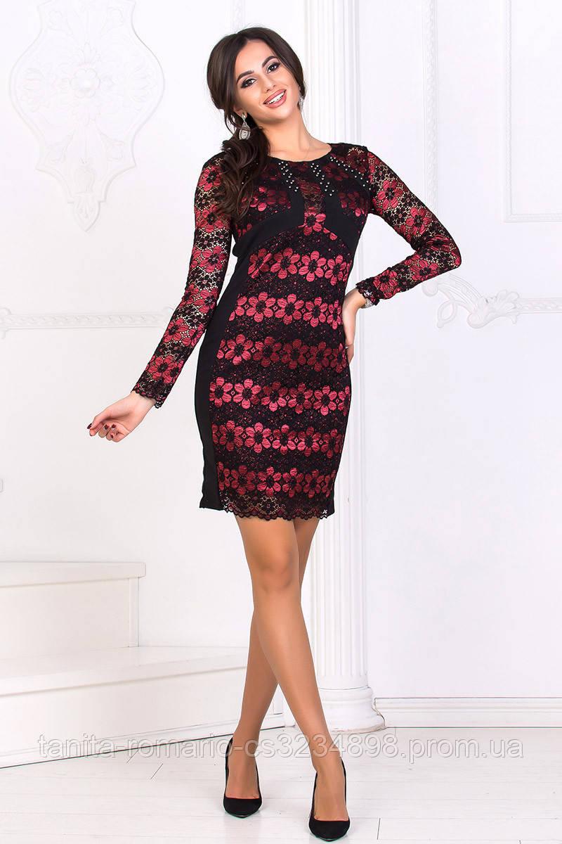 Коктейльное платье 8186e Чёрный/красный L(р)