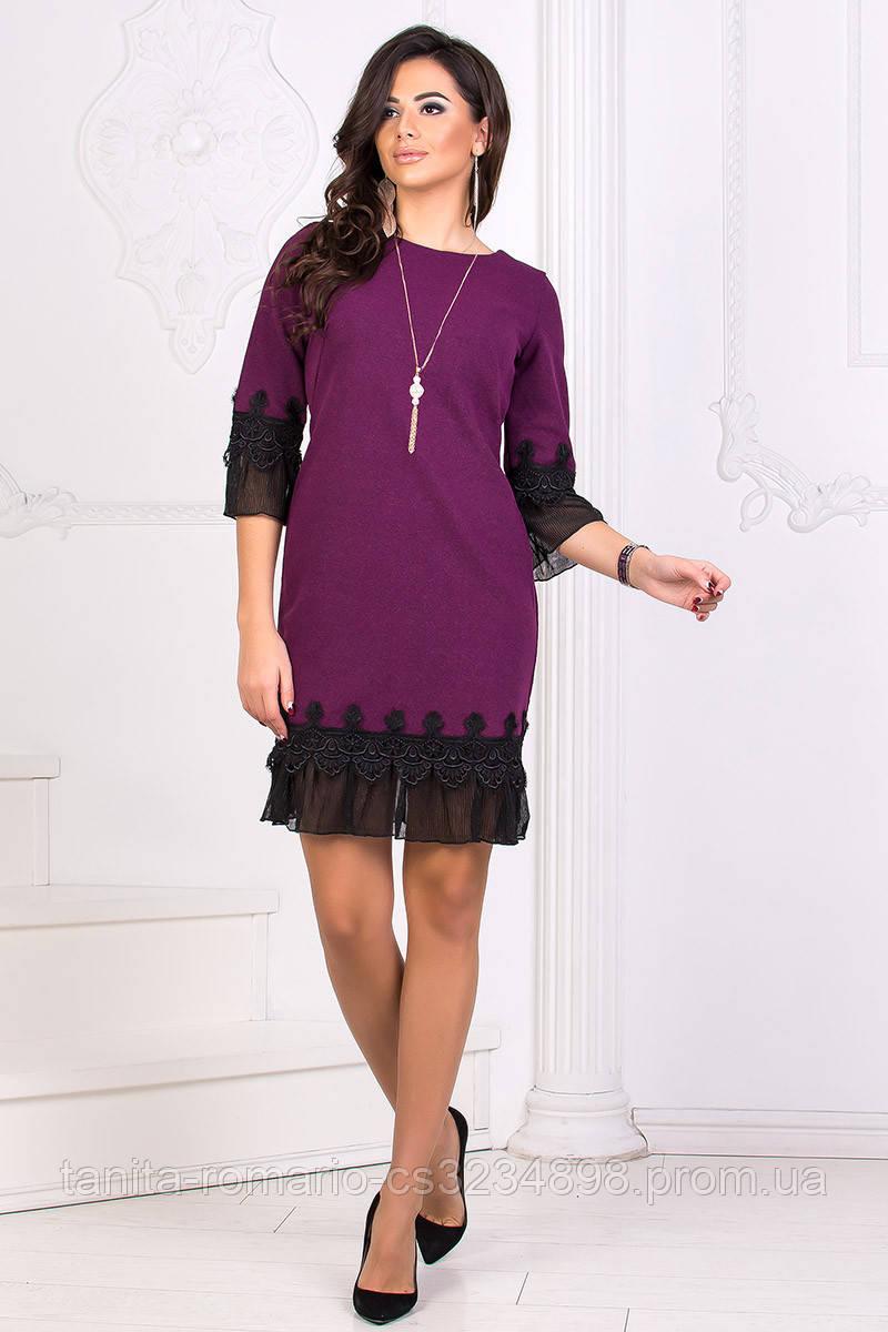 Коктейльное платье 8187e Сливовый S M L