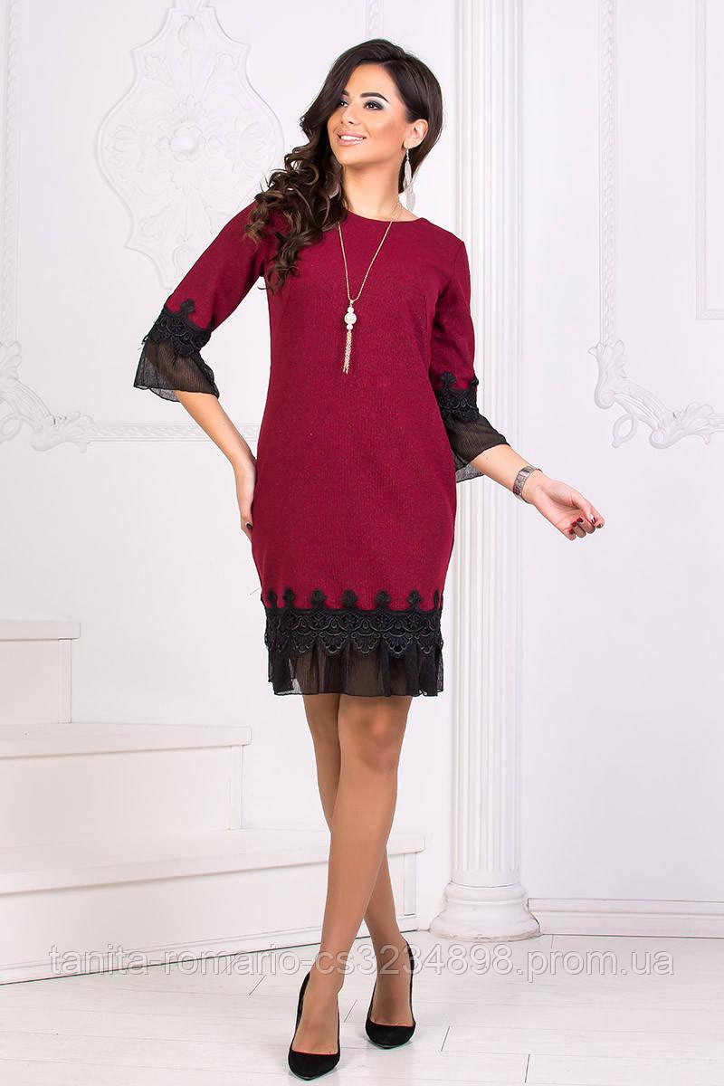 Коктейльное платье 8187e Бордо S M L