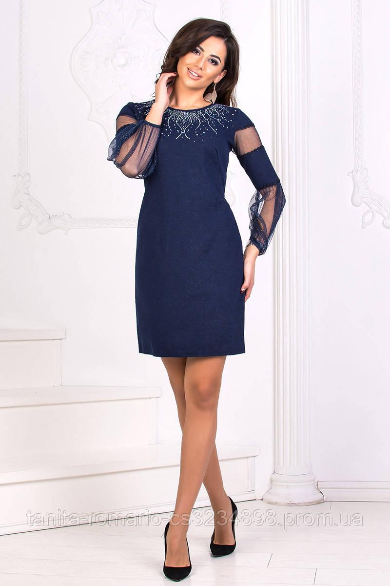 Коктейльное платье 8175e Синий S M L
