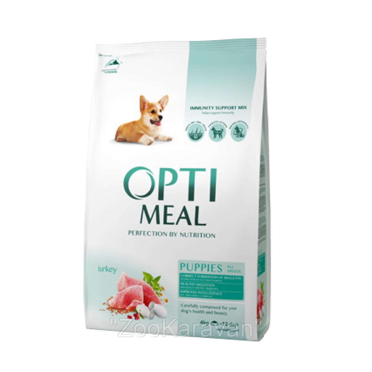 Сухой корм для щенков всех пород Opti Meal c индейкой 12 кг
