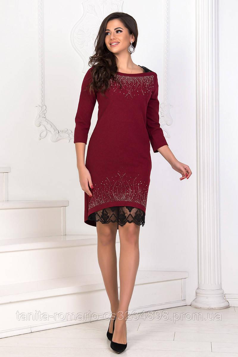 Коктейльное платье 7285e Бордо S M L