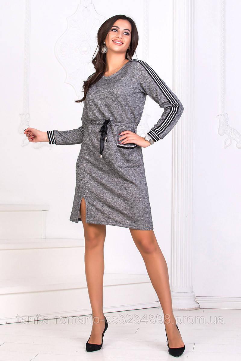 Повседневное платье 8182e Серый L(р)