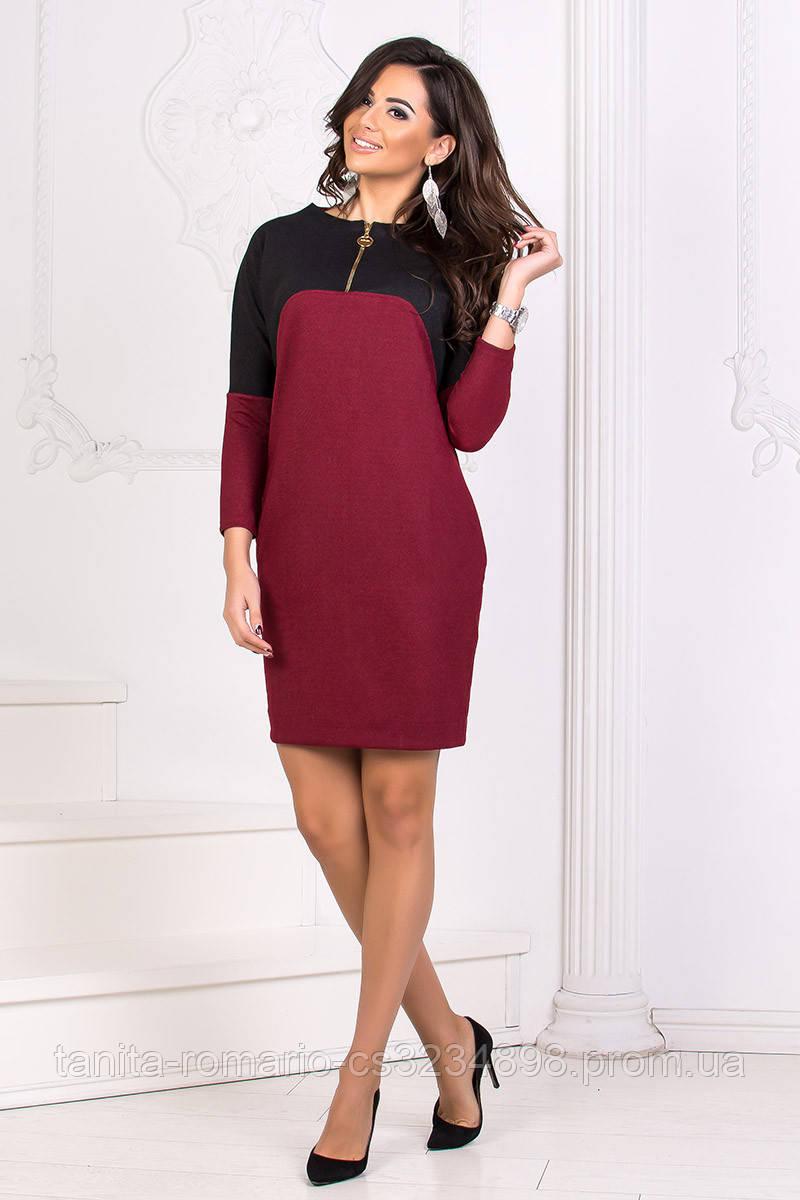 Повседневное платье 8165e Бордо L(р)