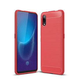 Чехол накладка для Vivo NEX S силиконовый, Carbon Fiber, красный