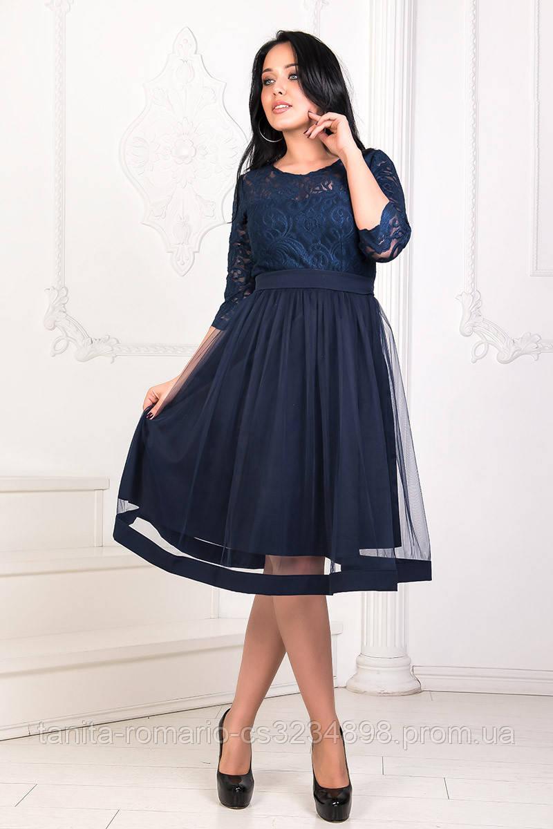 Коктейльное платье 8160e batal Синий 2XL(р)