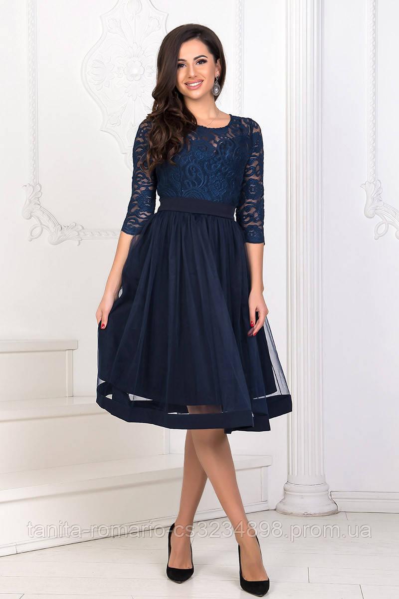 Коктейльное платье 8160e Синий S M L