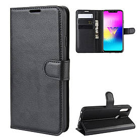 Чехол книжка для LG W10 X130IM боковой с отсеком для визиток, черный