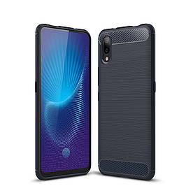 Чехол накладка для Vivo NEX S силиконовый, Carbon Fiber, темно-синий