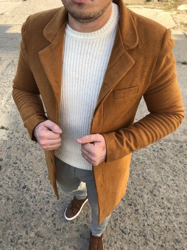 Мужское стильное пальто (коричневое) - Турция